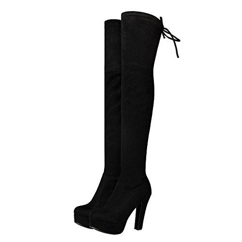 ENMAYER Mujeres Nubuck Tacones altos de cuero sobre la rodilla Slip-on plataforma sólida botas de invierno Negro(Bloquear 11.5cm)