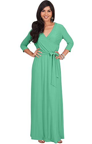 KOH KOH Womens Long 3/4 Half Sleeve Sleeves Flowy V-Neck Casual Fall Winter Empire Waist Evening Cute Full Floor-Length Gown Gowns Maxi Dress Dresses, Moss/Mint Green L 12-14