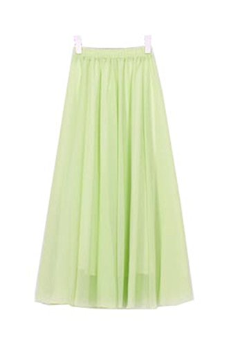FJ-Direct Long Skirt Elegant Women Pleated Maxi Chiffon Skirts Beach Boho Summer Skirts Apple Green (Apple Bedskirt)