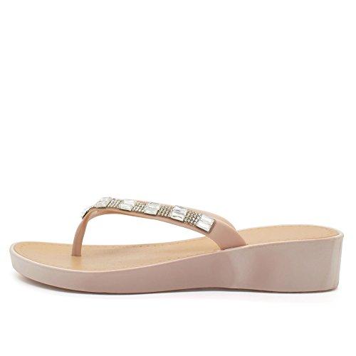 London Footwear - talón abierto mujer color carne