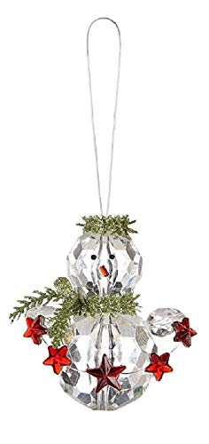 (Ganz 4 Pc Set of Kissing Krystals Snowman Christmas Ornaments with Holly and Berries)