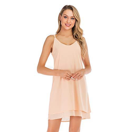 SHENGYI Women's Long Dress Spaghetti Strap Chiffon Sexy Camisole Swing Tank Tops Pink X-Large ()