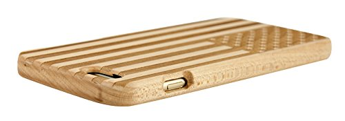 SunSmart Manual Natural Wood Bamboo Caja De Madera para iPhone 6 4.7(nogal brújula) arce-las barras y estrellas