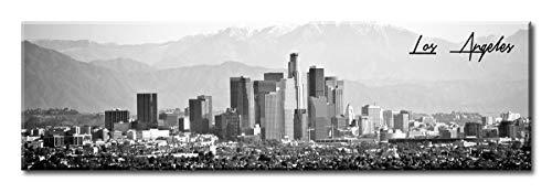 (DJSYLIFE-Los Angeles Skyline Wall Art,Black and White Stretched Canvas Art Prints, Wall Decoration Painting for Bedroom or Office, Ready to Hang 13.8