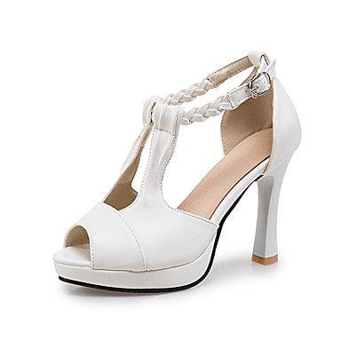 LFNLYX Sandalias de mujer zapatos Primavera Verano Otoño Club Comfort PU Parte & vestido de noche Stiletto talón Casual StrapBlack trenzada hebilla azul blanco Blue