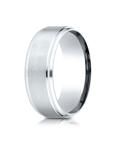 Palladium Beveled (PriceRock Palladium 8mm Comfort-Fit Satin-Finished Drop Beveled Edge Carved Design Wedding Band Ring for Men & Women Size 4 to 15)