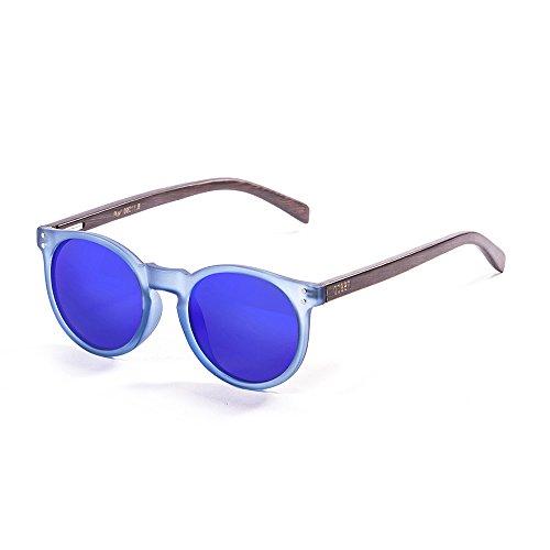 Ocean Sunglasses Lizard Lunettes de soleil Blue Transparent Frame/Wood Dark Arms/Revo Blue Lens tehY9en