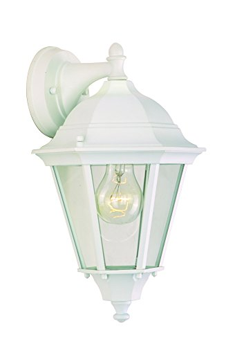 Maxim 1000WT Westlake Cast 1-Light Outdoor Wall Lantern, White Finish, Clear Glass, MB Incandescent Incandescent Bulb , 60W Max., Dry Safety Rating, Standard Dimmable, Glass Shade Material, Rated - Cast Westlake White