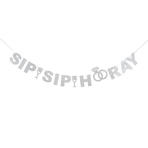 Sip Sip Hooray Silver Glitter Bunting Banner for Eat Drink Beer Baby Shower Birthday Party/Wedding Anniversary Engagement Creative Photo Props Decorations.]()