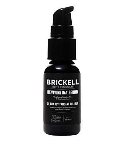 Brickell Men's Anti Aging Reviving Day Serum for Men, Natural and Organic Formulated with Hyaluronic Acid, Protein Peptides to Restore Firmness and Stimulate Collagen, 1 Ounce, Scented