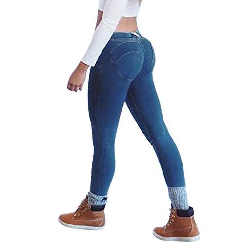 Blu Primavera Donna Skinny Leggings Casuale Jeans Lunghi Boyfriend Push Up 1 Dimagranti In Pantaloni Fashion Scuro Denim Moda Stretch aFwraO