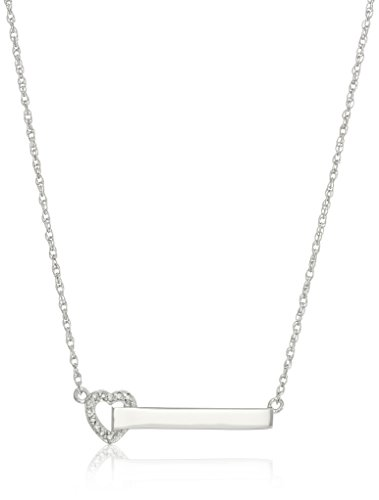 Diamond Accent Heart Necklace (Sterling Silver Heart Diamond Accent Bar Necklace)