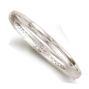 """Blanc 14 carats-Diamant - 6 mm-Coupe-Bracelet Jonc Femme-Fleur-JewelryWeb 7 """""""
