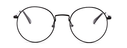 9e4cd37bc Outray Retro Round Metal Clear Lens Glasses 2136c1 Black Frame:  Amazon.co.uk: Clothing