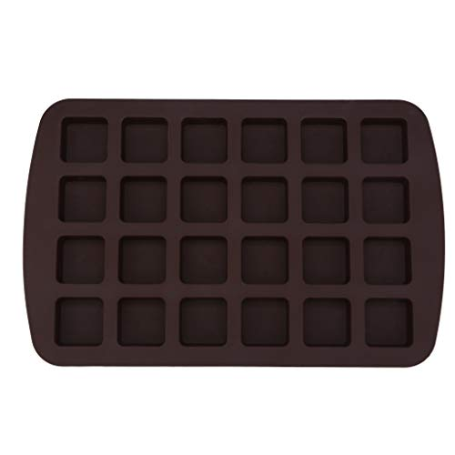 Yikey Cake Mould, Cake Make 24-Cavity Silicone Brownie Squares Baking Mold Chocolate Mold Bakeware