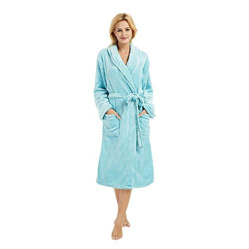 (M&M Mymoon Womens Fleece Robe Soft Plush Bathrobe Long Thicken Warm Kimono Shawl Collar One Piece Homewear (S/M, Mint))