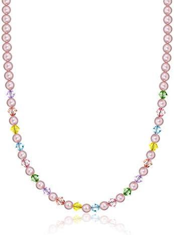 Crystal Dream Elegant Pink Multi Color Birthday Girl Child Keepsake Sterling Silver Necklace NMCB