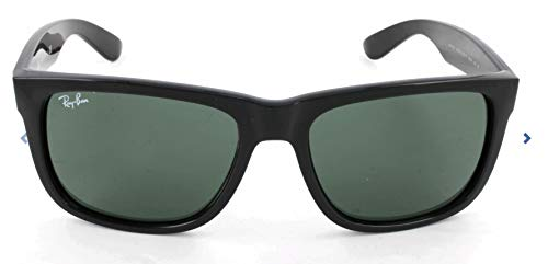 Ray-Ban RB4165 Justin Rectangular Sunglasses, Black/Green, 55 mm ()