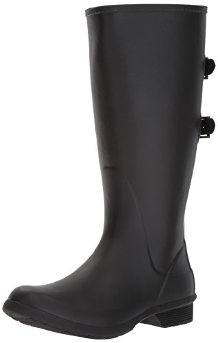 Chooka Women's Wide Calf Memory Foam Rain Boot, Black, 9 M US