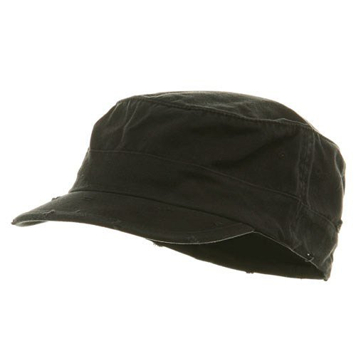 (Washed Cotton Fitted Army Cap-Black W32S34E (S/M))