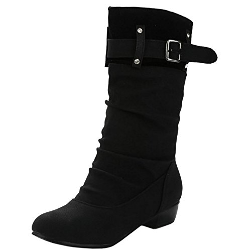 COOLCEPT Mujer Tacon Bajo Slouch Botas Mid Calf With Monk-Strap Black