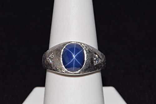 14k White Gold Blue Star Sapphire Ring