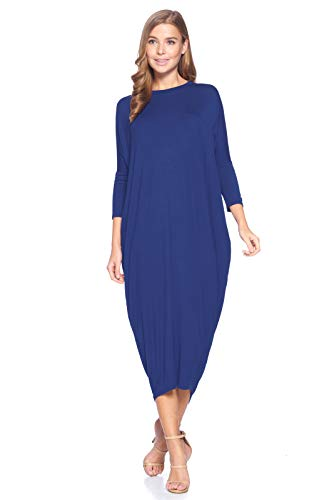 12 Ami Solid Long Sleeve Cover-Up Maxi Dress Navy Medium