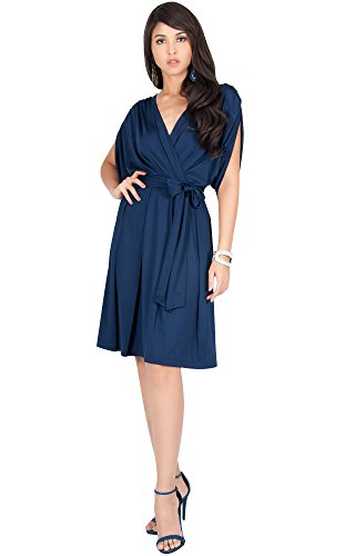 KOH KOH Plus Size Womens V-Neck Short Sleeve Flowy Work Knee Length Day Semi Formal Batwing Summer Casual Modest Cute Sexy Sundress Midi Dress Dresses For Women, Navy Blue 2 - Day V Date
