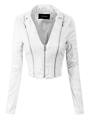 Stylish Trendy Bomber Faux Leather Motorcycle Cropped Rider Jacket White M ()