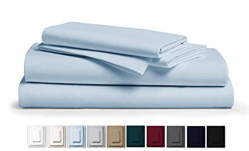 True 800 Thread Count 100% Pure Egyptian Cotton Bed Sheets, 4-Pc Cal King SKYBLUE Sheet Set, Single Ply Long-Staple Combed Cotton Yarns, Best Sateen Weave, Fits Mattress Upto 17'' Deep Pocket