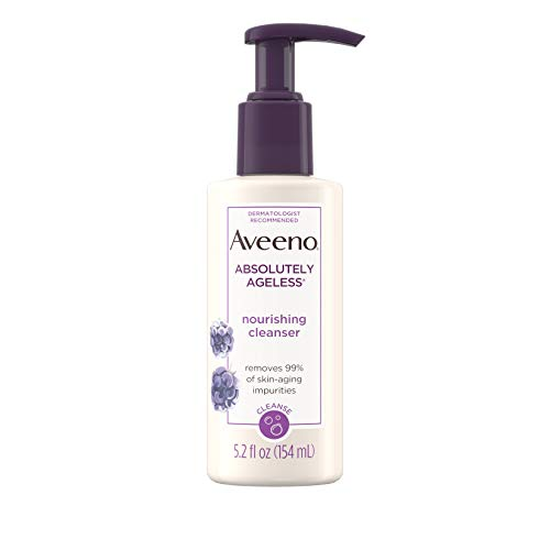 Aveeno Absolutely Ageless Nourishing Daily Facial Cleanser with Antioxidant-Rich Blackberry Extract, Non-Comedogenic Face Wash from Dermatologist-Recommended Brand, 5.2 fl. oz