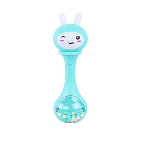 WeiYun Rabbit Rattle Music Handbell Alloy Jingle Bells Sleigh Musical Instrument for Kids,Early Educational Developmental Toys Rattles for 3-24 Month Baby/Infant/Newborn, 1 Pcs (Blue)