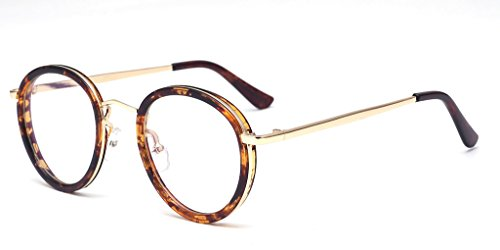 ALWAYSUV Vintage PC Metal Full Leopard Frame PC Circle Round Clear Lens Nerd - Print Glasses Nerd Leopard