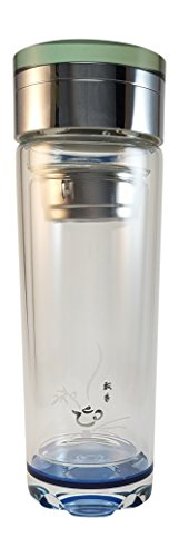 Tea Infuser Tumbler Travel Mug, Double Wall Glass Bottle, Stainless Steel Strainer for Loose Leaf Tea and Fruit Water - 12 Ounce