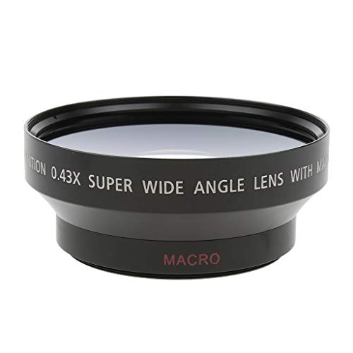 Elegant Essence 62mm 0.45x Wide Angle Lens with Macro for Canon Nikon Sony Digital Cameras. Includes 2 x Lens Hood and Protector Bag