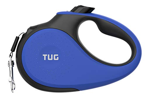TUG Patented 360° Tangle-Free, Heavy Duty Retractable Dog Leash with Anti-Slip Handle; 16 ft Strong Nylon Tape/Ribbon; One-Handed Brake, Pause, Lock (Medium, Blue) (Retractable Leash Animal Dog)