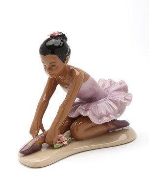 Cosmos Gifts Fine Porcelain African American Ballerina Ballet Dancer Girl in Pink Tutu Dress Posing Figurine, 4-1/2