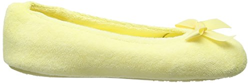 Isotoner Terry Ballet With Spot Bow, Chaussons femme Jaune - Yellow (Yellow)