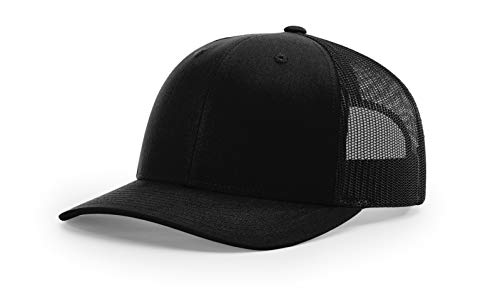 Richardson Black 112 Mesh Back Trucker Cap Snapback Hat