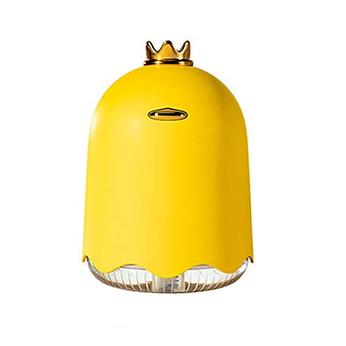 ZnMig Quiet Operation Personality Mini Cute Mist Humidifier,Crown Duck USB Moisture Sprayer Air Purifier with Color Led Light for Bedroom Office Car (Color : Yellow, Size : 90x127mm)