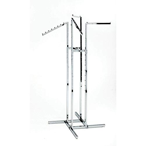 Clothing Rack - Heavy Duty Chrome 4 Way Rack, Adjustable Arms, Square Tubing, Perfect for Clothing Store Display With 2 Straight Arms and 2 Slanted Arms, Takes Up Only 32 Inches of Floor Space