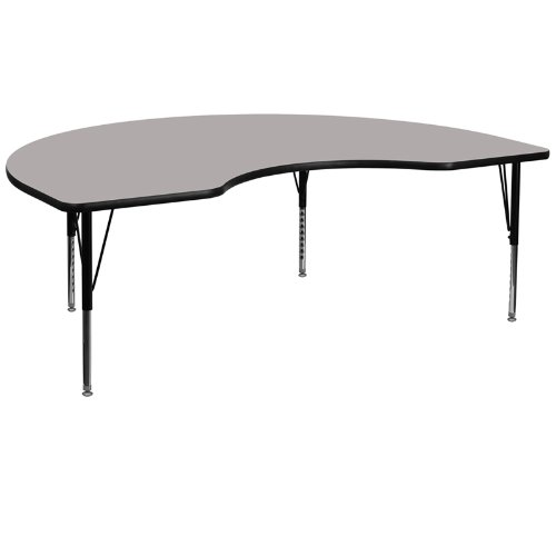 Flash Furniture 48''W x 96''L Kidney Grey HP Laminate Activity Table - Height Adjustable Short (Childrens Kidney Shaped Activity Table)
