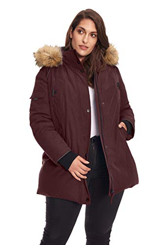 Alpine North Size Womens Vegan Down Parka Winter Jacket Plus, Grape, ()