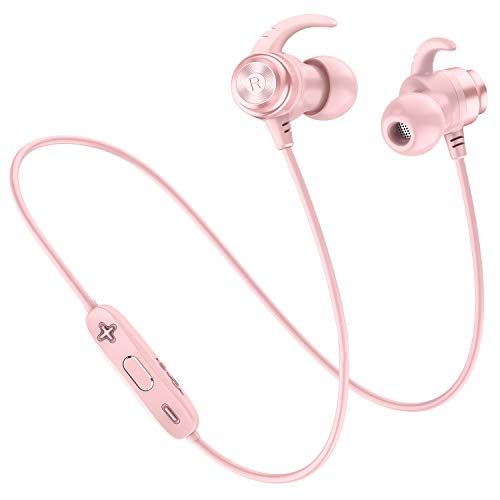 Picun Bluetooth Headphones Wireless Sport Earphones Lightweight Magnetic Earbuds Sweatproof in Ear Earphones with Built-in Mic Wireless Bluetooth Headphones for Running Gym Workout (Rose Gold)