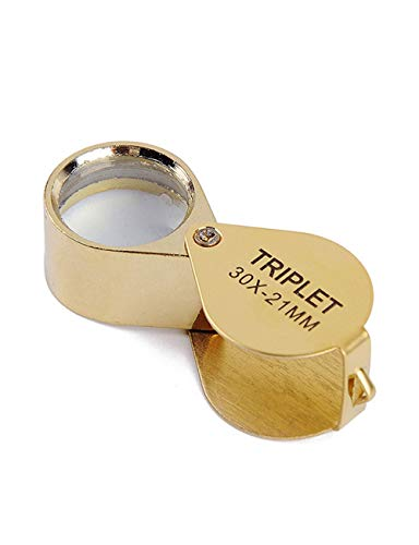 Magnifiying 30X Reading Magnifier, Hand-held Optical Glass Lens, Collectible Stamps, Banknotes, Jewelry, Map Reading Reading (Color : Gold)