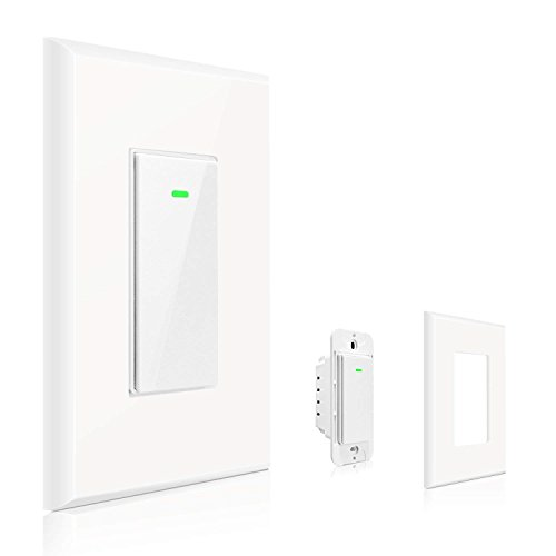 Maxcio Smart Wi-Fi Light Switch, No Hub Required, Compatible with Amazon Alexa and Google Assistant, Remote Control/Schedule Your Fixtures Anywhere - 15A (Neutral Wire Required)