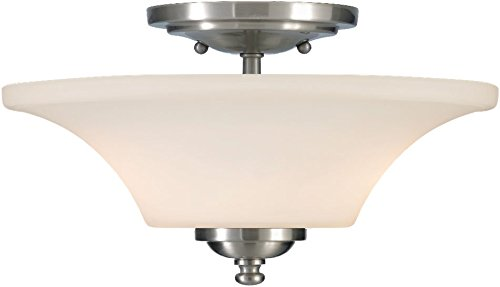 Feiss SF240BS Barrington Glass Semi Flush Ceiling Lighting, Satin Nickel, 2-Light (13