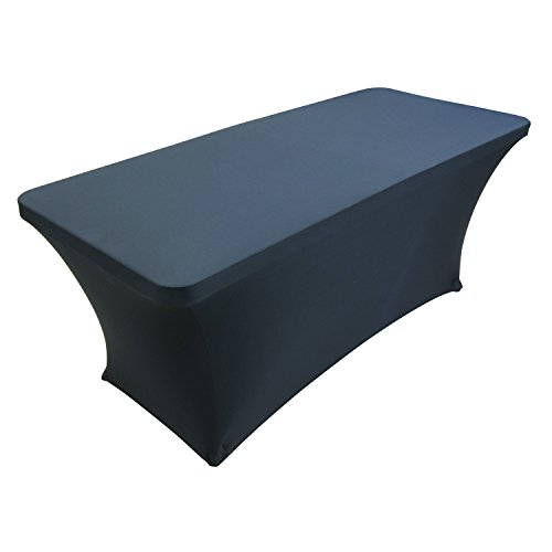 Houseables Black Table Cloths, Fitted Tablecloth Cover, 6 ft, Black, Rectangular Skirts, Polyester/Spandex, Elastic, Stretchable Linen, Stain & Wrinkle Proof, for Folding Tables, Wedding, DJ, (Folding Table Skirt)