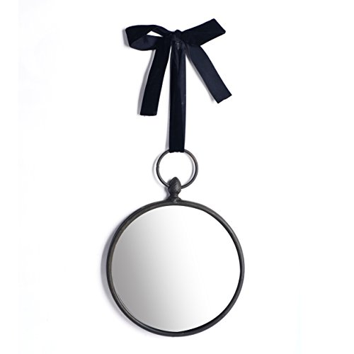 NIKKY HOME 8 Inch Vintage Round Metal Hanging Mirror with Black Velvet Ribbon in a Bow, Grey