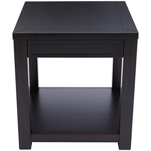 Ball Cast Oliver Square-Shaped Wood End Table with Fixed Lower Shelf, Bermuda Black